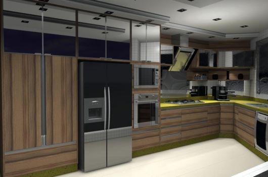 modelo cozinha armário espelhado