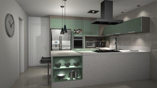projeto cozinha colorida
