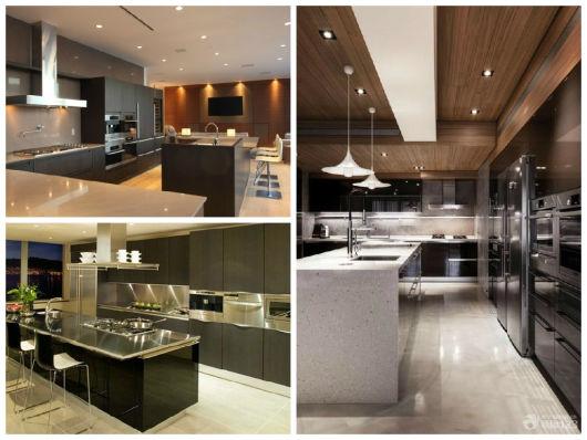 cozinhas planejadas escuras