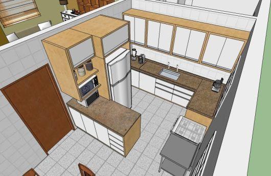 planta 3D cozinha barata