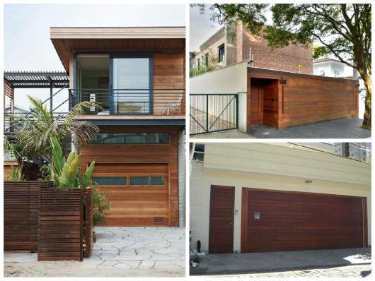 fachada casas portão madeira