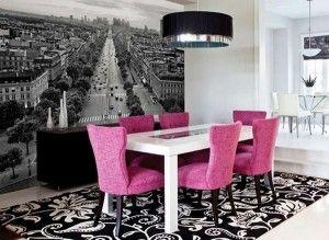 sala de jantar com papel de parede 3D