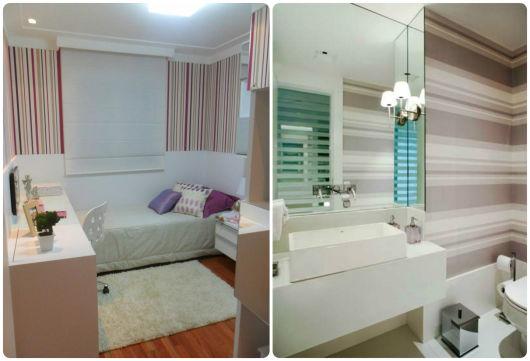 quarto e banheiro parede listrada