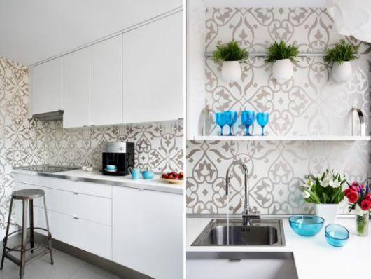 papel parede metálico cozinha