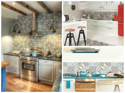 papel de parede imita azulejo