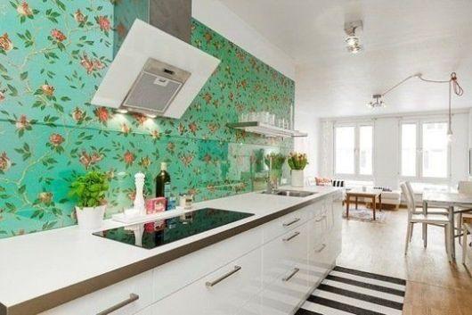 parede floral na cozinha
