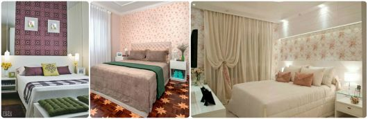 ideias papel parede floral quarto casal