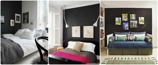 ideias para usar parede preta no quarto