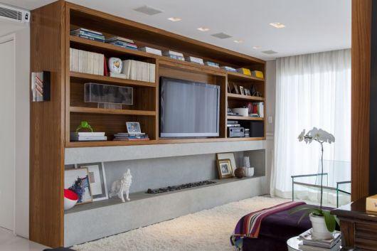 Lareira Para Sala Pequena ~ no canto da sala de televisão é uma ótima alternativa para