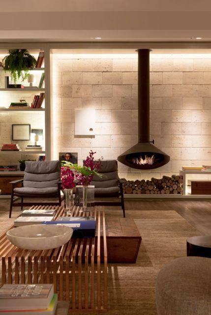 Lareira Para Sala Pequena ~  de decor e o mesmo espaço pode abrigar uma lareira ecológica para