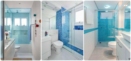 BANHEIRO AZUL 80 Ideias de Projetos e Fotos! -> Banheiro Com Pastilhas De Vidro Laranja