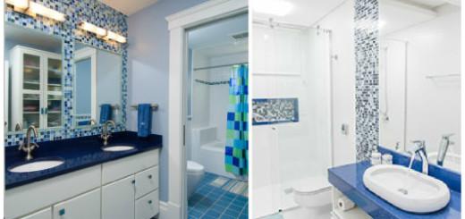 como usar bancada azul no banheiro