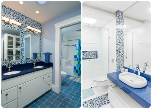 BANHEIRO AZUL 80 Ideias de Projetos e Fotos! # Pia Para Banheiro Azul