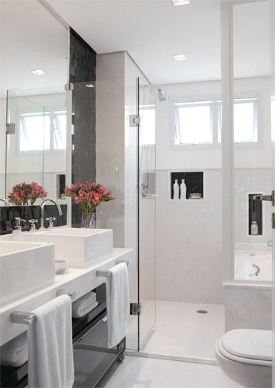 70 BANHEIROS MODERNOS IMPERDÍVEIS! Fotos e Dicas -> Armario De Banheiro Branco E Preto
