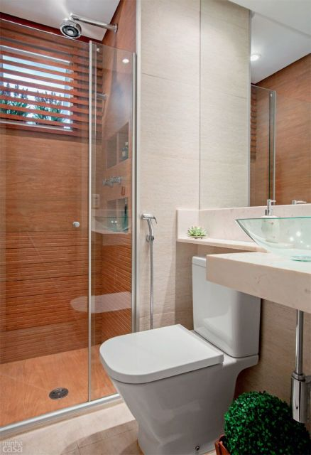 70 BANHEIROS MODERNOS IMPERDÍVEIS! Fotos e Dicas -> Banheiro Pequeno Decorado De Vermelho
