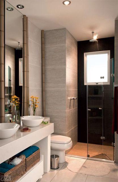 70 BANHEIROS MODERNOS IMPERDÍVEIS! Fotos e Dicas -> Banheiro Pequeno Cinza