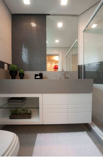 banheiro pastilhas cinza