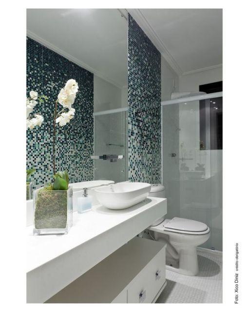 parede de pastilhas banheiro sofisticado
