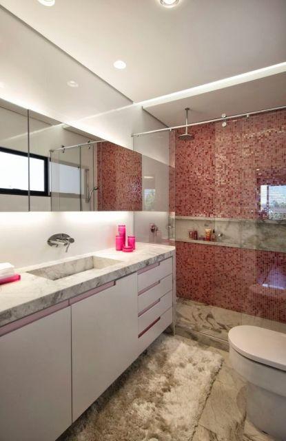 decoração banheiro com pastilha