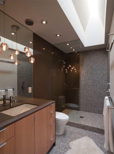 70 BANHEIROS MODERNOS IMPERDÍVEIS! Fotos e Dicas -> Banheiro Pequeno Sofisticado