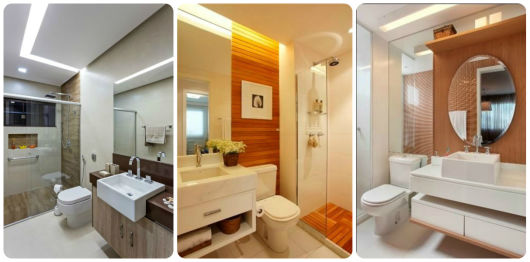 banheiros modernos pequenos com decoração em madeira