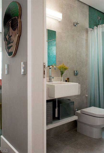 70 BANHEIROS MODERNOS IMPERDÍVEIS! Fotos e Dicas -> Banheiro Com Piso Que Imita Pastilha