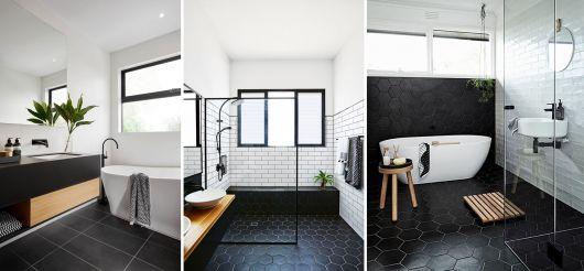 banheiros modernos preto/branco com plantas e decoração em madeira