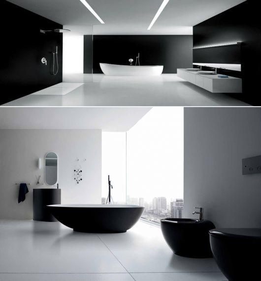banheiros modernos com decoração que remete ao infinito