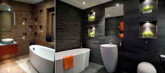 banheiros modernos com nichos para decoração