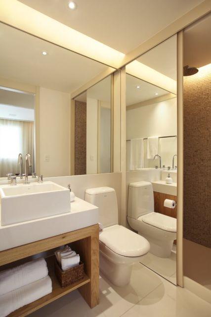 70 BANHEIROS MODERNOS IMPERDÍVEIS! Fotos e Dicas -> Banheiro Pequeno Chuveiro