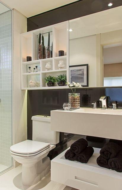 BANHEIRO PRETO E BRANCO 45 Estilos e Fotos! # Banheiro Pequeno Simples Branco