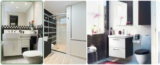 BANHEIRO PRETO E BRANCO 45 Estilos e Fotos! -> Banheiros Decorados Preto E Branco Pequeno