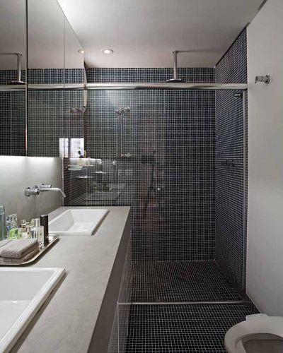 BANHEIRO PRETO E BRANCO 45 Estilos e Fotos! -> Banheiro Com Faixa De Pastilha Preta