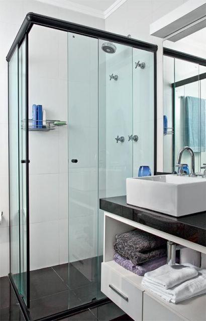 BANHEIRO PRETO E BRANCO 45 Estilos e Fotos! -> Banheiro Pequeno Com Porcelanato Preto