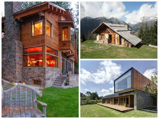 casa de madeira e pedra