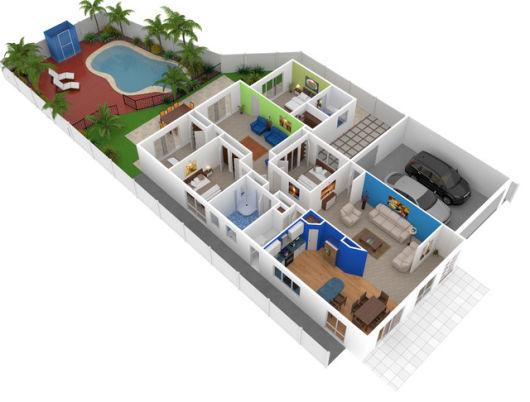 planta casa americana com piscina