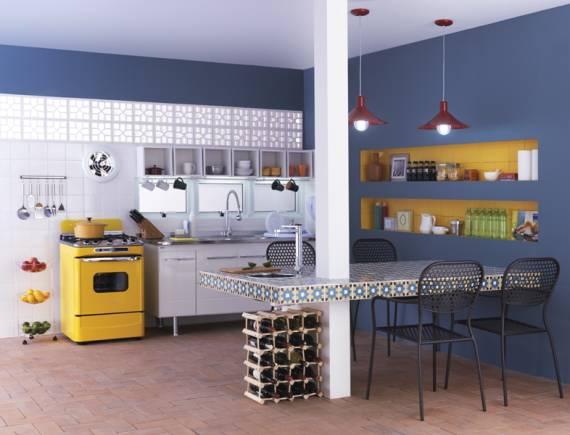Ideias simples e fáceis para cozinha colorida
