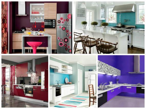 Pintar a parede da cozinha de vermelho, azul e roxo