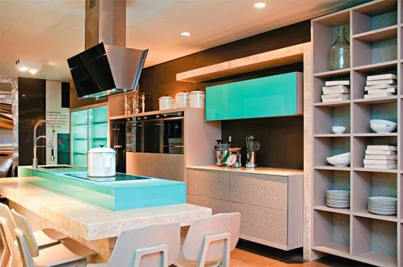 CORES PARA COZINHA 60 Fotos e Dicas de combinações! # Cozinha Planejada Na Cor Azul Turquesa