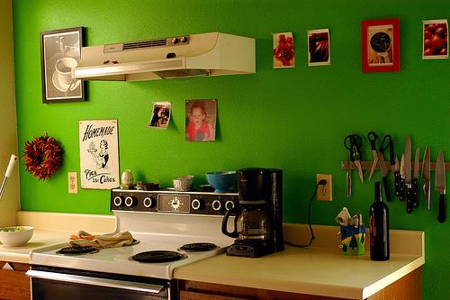 Fotos de cozinhas com parede verde