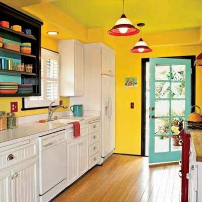 Ideias de cores para pintar cozinha - amarelo