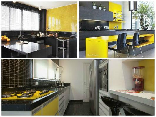 ideias para cozinha amarela e preta