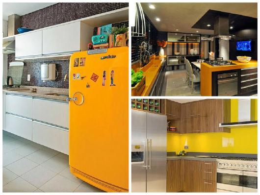 decoração amarela e marrom cozinha