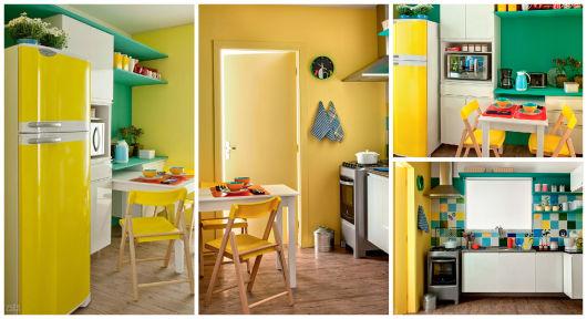 cozinha amarela e turquesa