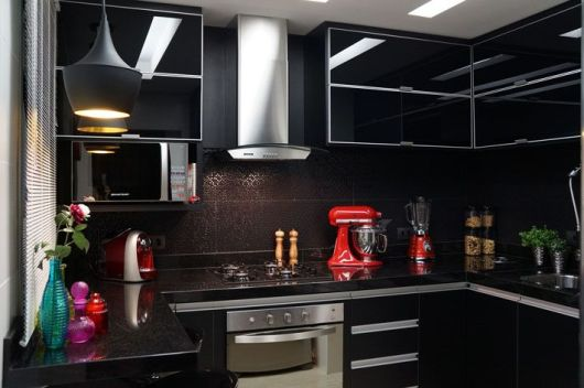 Cozinha Decorada Com Geladeira Preta Beyatocom Vários Desenhos