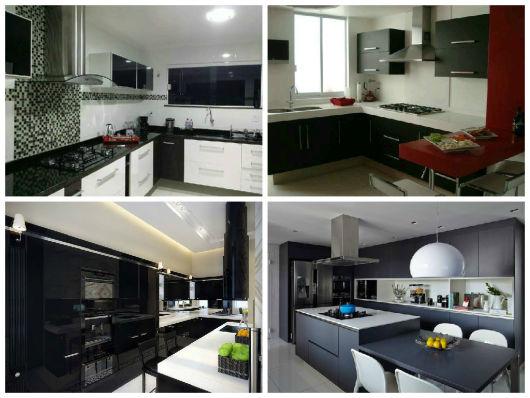 modelos cozinha em preto e branco
