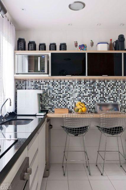 Cozinha preta 70 modelos e fotos de cair o queixo for Mesa de cocina esquinera