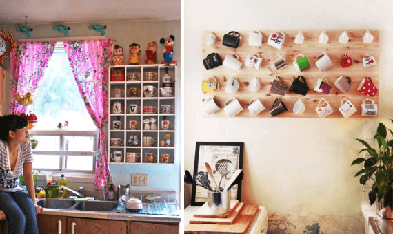Fotos de enfeites para cozinhas com nichos de canecas