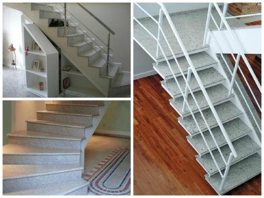 granito cinza na escada