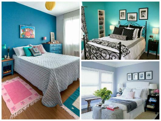 quarto de casal com parede azul